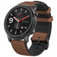 Amazfit GTR 47mm aluminium case, leather strap