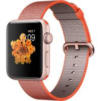 Apple Watch Series 2 42mm Rose Gold Aluminum Case with Space Orange/Anthracite Woven Nylon