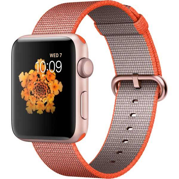 Умные часы Apple Watch Series 2 42mm Rose Gold Aluminum Case with Space Orange/Anthracite Woven Nylon