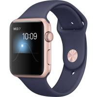 Apple Watch Series 2 42mm Rose Gold Aluminum Case with Midnight Blue Sport Band