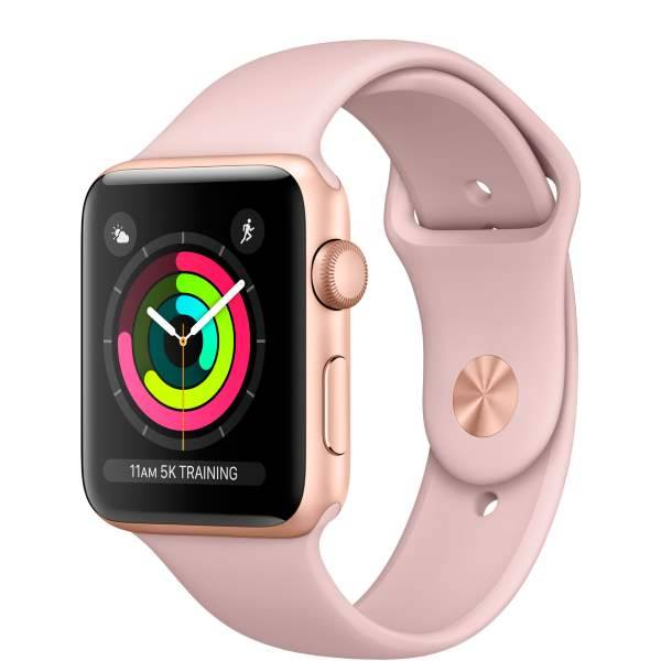 Умные часы Apple Watch Series 3 GPS 42mm Gold Aluminum Case with Pink Sand Sport Band