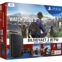 Sony PlayStation 4 Slim 1 ТБ + Watch Dogs + Watch Dogs 2